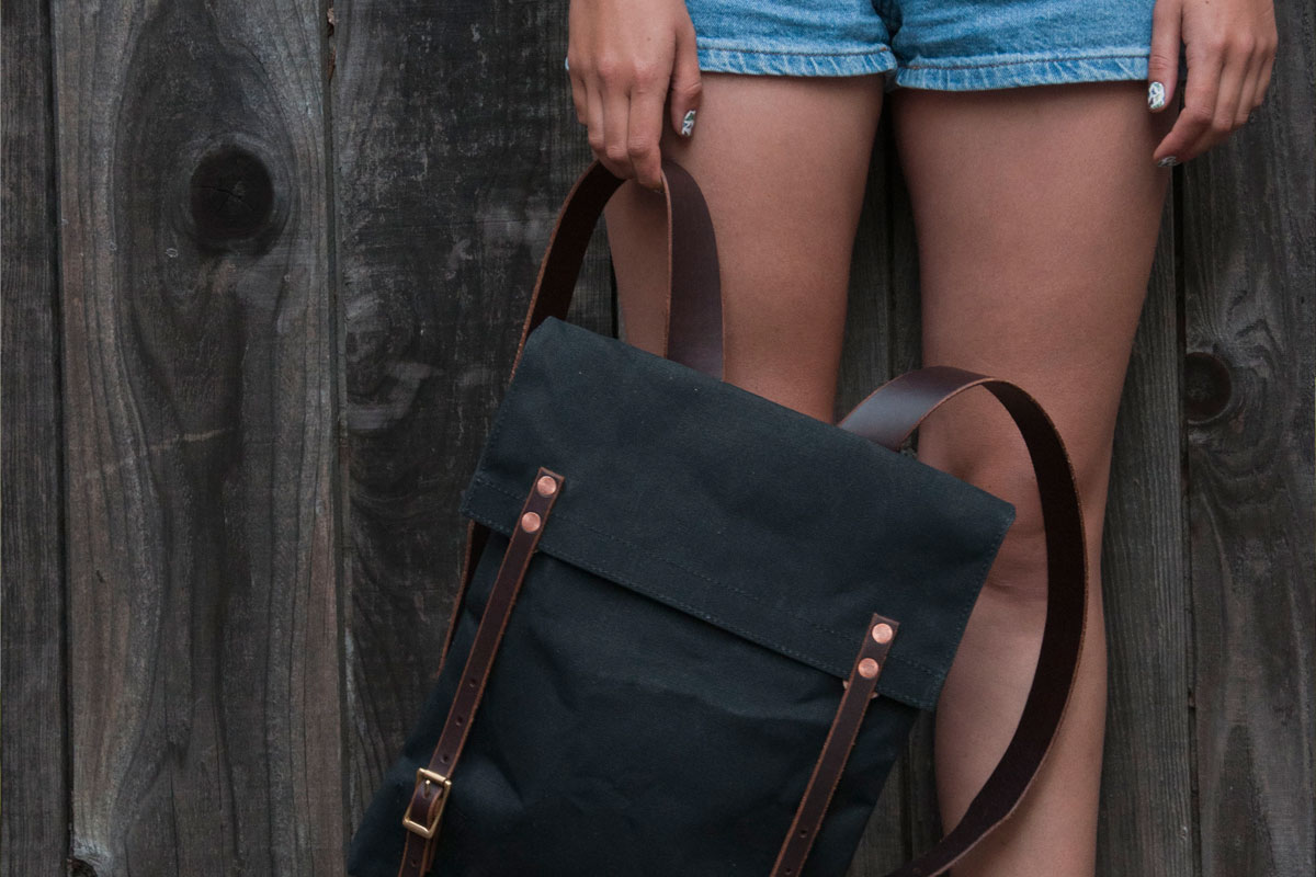Leather and canvas Penny Pack backpack